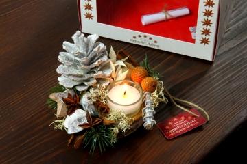 Oppacher Kerzen-Tischgesteck Deluxe in creme weiß