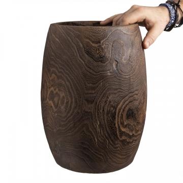 Deko Holzvase Typ ´Wenge´ bauchig M [ Ø 18cm H 31cm ]