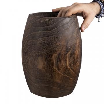 Deko Holzvase Typ ´Wenge´ bauchig L [ Ø 21,5cm H 35cm ]