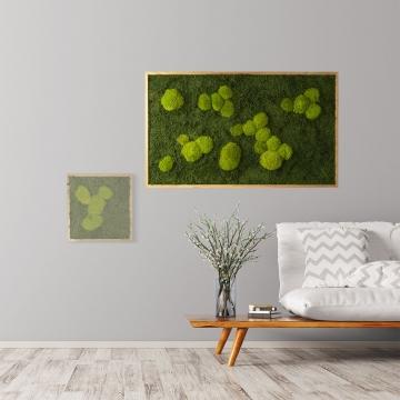 Moosbild Waldmoos & Kugelmoos 100 x 60 cm mit Tischlerrahmen aus geölter Eiche