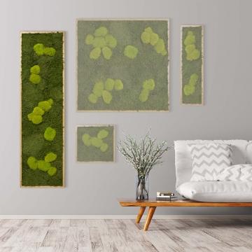Moosbild Waldmoos & Kugelmoos 140 x 40 cm mit Tischlerrahmen aus geölter Eiche