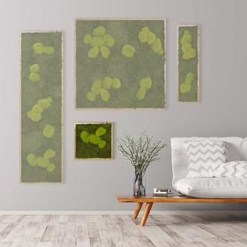 Moosbild Waldmoos & Kugelmoos 35 x 35 cm mit Tischlerrahmen aus geölter Eiche