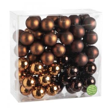 Weihnachtskugel Set aus Glas am Draht  Ø 3cm in Dark Brown Combi (goldbraun) mit 72 Stück (36x matt und 36x glänzend)