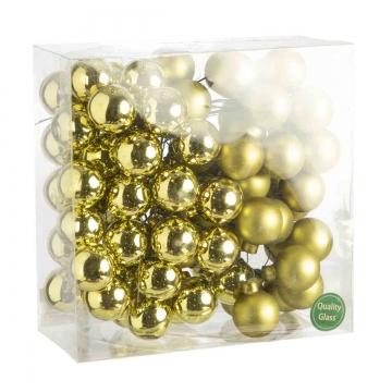 Weihnachtskugel Set aus Glas am Draht  Ø 3cm in Natural Green (grün) mit 72 Stück (36x matt und 36x glänzend)