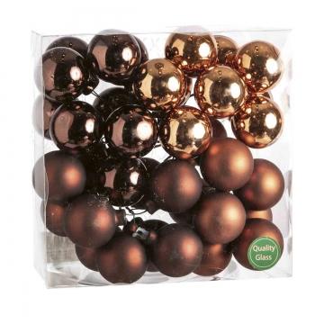 Weihnachtskugel Set aus Glas am Draht  Ø 4cm in Dark Brown Combi (goldbraun) mit 36 Stück (18x matt und 18x glänzend)