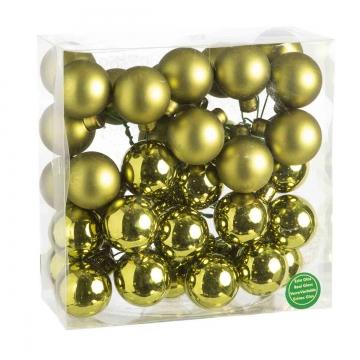 Weihnachtskugel Set aus Glas am Draht  Ø 4cm in Natural Green (grün) mit 36 Stück (18x matt und 18x glänzend)