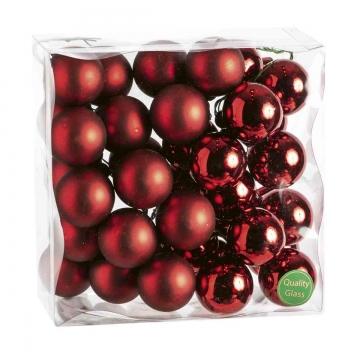 Weihnachtskugel Set aus Glas am Draht  Ø 4cm in Dark Red Combi (rot) mit 36 Stück (18x matt und 18x glänzend)