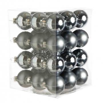Weihnachtskugel Set aus Glas Ø 5,7cm in Steel Combi (blaugrau) mit 36 Stück (18x matt und 18x glänzend)