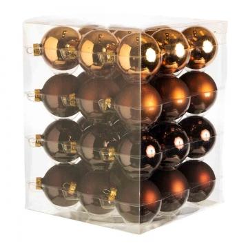 Weihnachtskugel Set aus Glas Ø 5,7cm in Dark Brown Combi (goldbraun) mit 36 Stück (4 verschiedene Farben je 9 Stück)