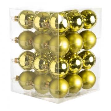 Weihnachtskugel Set aus Glas Ø 5,7cm in Natural Green (grün) mit 36 Stück (18x matt und 18x glänzend)