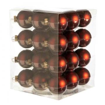Weihnachtskugel Set aus Glas Ø 5,7cm in Dark Red Mat (rot) mit 36 Stück matt