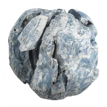 Wurzelholz Kugel Ø 14cm in Frosted Blau (4 Stück)