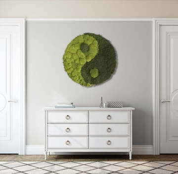 Moos•Moos YIN YANG Moosbild rund aus `Ballen- und Waldmoos´ präpariert im Grün Mix ( Ø 70cm )