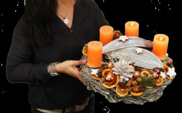 Premium Adventskranz Oppacher Orange Natur edel