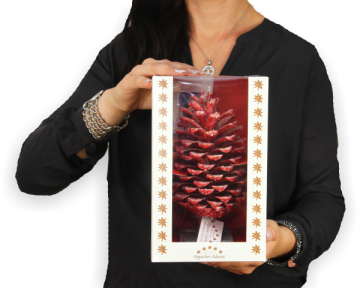Oppacher Räucherzapfen / Räuchermännchen rot mit Glitter [Größe des Baumes ca. 22x11cm]