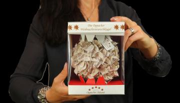 Oppacher Weihnachtswunschkugel Creme Weiß mit Glitter ( Größe der Kugel ca. Ø 12,5cm )