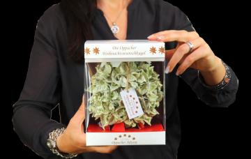 Oppacher Weihnachtswunschkugel Grün Light mit Glitter ( Größe der Kugel ca. Ø  12,5cm )